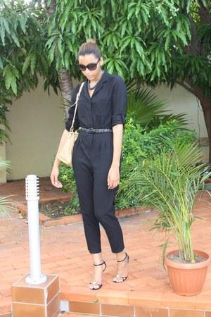 black satin Dolce & Gabbana sandals - nude Prada bag