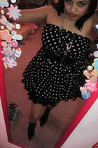 black Macys dress - black Macys boots - black Clairs necklace