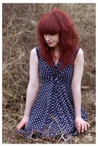 navy polka dots yumi dress