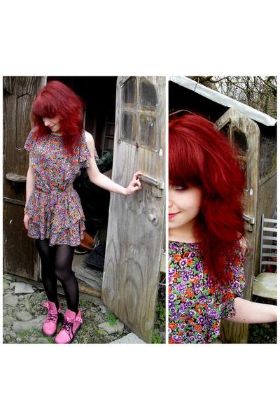purple River Island dress - pink doc martens shoes - black Penneys tights