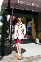 beige banana republic coat - pink H&M scarf - Topshop dress - brown Mango shoes