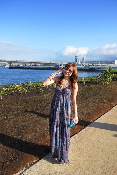 purple Sweetie Island from Hawaii dress - brown H&M sunglasses