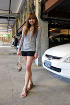 gray from taiwan top - H&M shorts - white Forever 21 shoes - brown coach purse