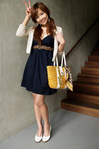 beige Mango sweater - Forever 21 dress - - shoes - Mango belt - coach scarf