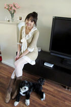 brown Dr Scholl boots - white random brand stockings - beige random from Hong Ko