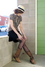 Forever-21-hat-urban-outfitters-boots-random-from-malaysia-skirt-h-m-stock