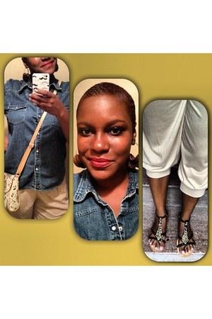 blue Gap shirt - ivory Charming Charlies bag - dark brown Old Navy sandals