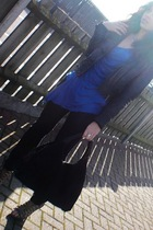 black Mango jeans - black Zara accessories - black Topshop jacket - blue Zara t-