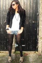 black next tights - beige Kurt Geiger shoes - white Zara t-shirt - black H&M coa