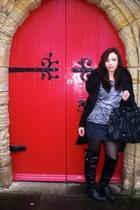 black Primark boots - black Zara coat - black We Love Colors tights