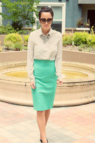 pencil skirt Zara skirt - Gucci sunglasses - JCrew necklace