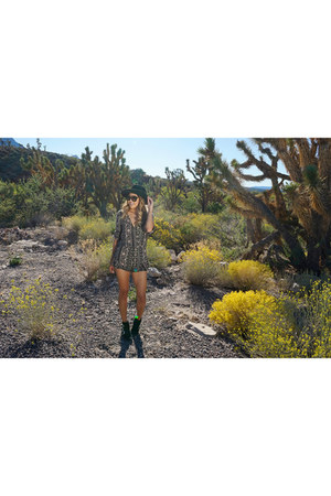 asos boots - Forever 21 hat - necessary clothing romper
