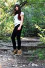 Fringe-zara-top-black-skinny-uniqlo-jeans-leopard-shoemint-wedges