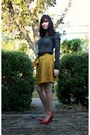 Black-silk-polka-dot-h-m-shirt-gold-mustard-yellow-gap-skirt