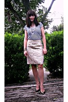 brocade Loft skirt - stripped Zara t-shirt - gold sam edelman heels