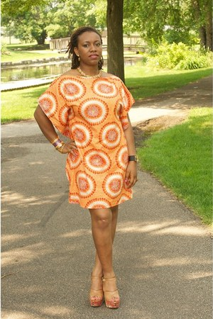 light orange kaftan Bike dress - light brown shoes DSW sandals - cuff bracelet