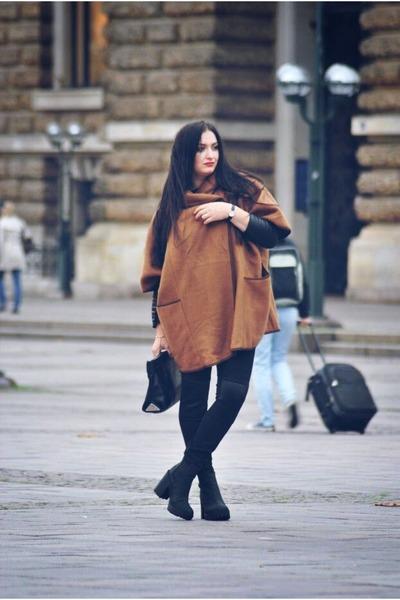 bronze brown coat H&M coat - black H&M shoes - black leather Zara purse