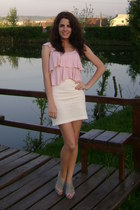 periwinkle random heels - white random skirt - light pink New Yorker top