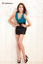 turquoise blue Orsay dress - black random heels - dark gray earrings