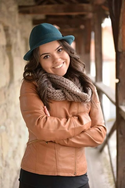 teal Takko hat - bronze Stradivarius jacket - camel scarf - black top