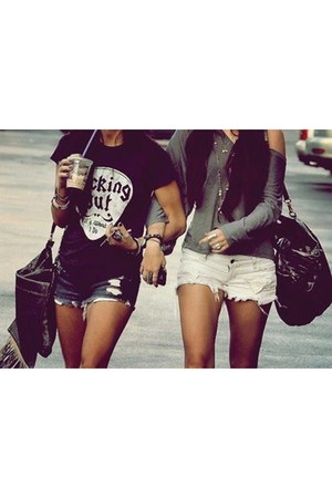 black bag - navy shorts - white shorts - heather gray blouse - black t-shirt