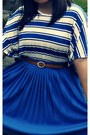 Blue-skirt-sky-blue-scarf-blue-h-m-t-shirt-brown-belt