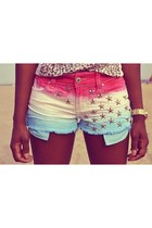 bubble gum shorts - sky blue shorts - ivory shorts - white top - gold watch