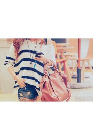 pink bag - blue shorts - ivory blouse - off white ring - black necklace