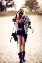 black Envishoes boots - sky blue jeans coal n terry jacket