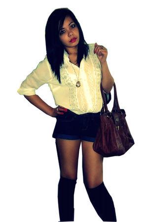 brown Mums - Jane Norman bag - black Matalan socks - blue Primark shorts - beige