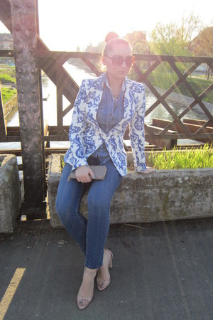 blue Zara blazer - sky blue Zara jeans - sky blue c&a shirt