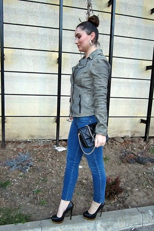 navy Zara jeans - heather gray leather jacket Maze jacket