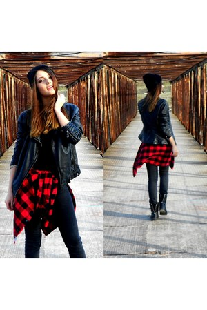 black H&M jeans - black pleather no brand jacket - red plaid H&M shirt