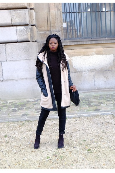 black chunky boots Primark boots - ivory Only coat - black Pimkie bag