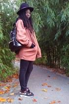 black black hat vintage hat - tawny thrifted coat thrifted coat