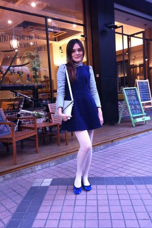 blue shoes - navy dress - white tights - silver hand bag - silver Guess bracelet