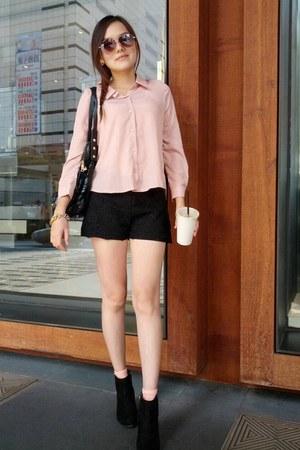 black heels boots - black lace shorts - peach socks - black sunglasses