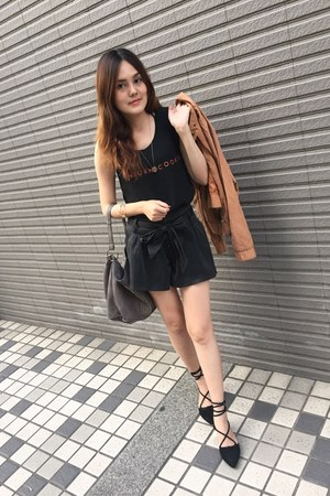 black shorts - light orange jacket - heather gray bag - black lace up flats