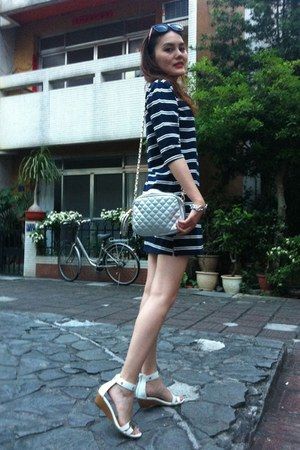 navy stripped dress - silver bag - black sunglasses - white sandals
