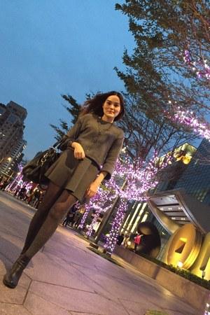 heather gray sweater - black heels boots - heather gray leopard print tights