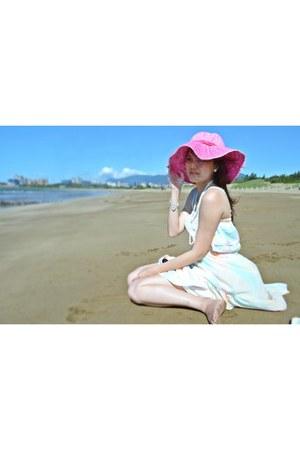 white necklace - aquamarine dress - bubble gum hat - silver Guess bracelet
