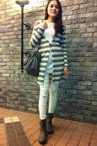 silver boots - white leggings - silver bag - silver cardigan - white top