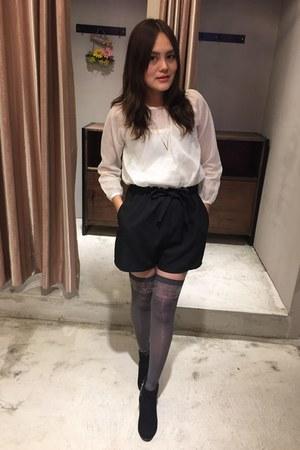 black heel boots - black shorts - silver anna sui knee socks - white top