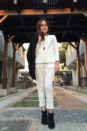 black heels boots - black coat - black necklace - white harem pants
