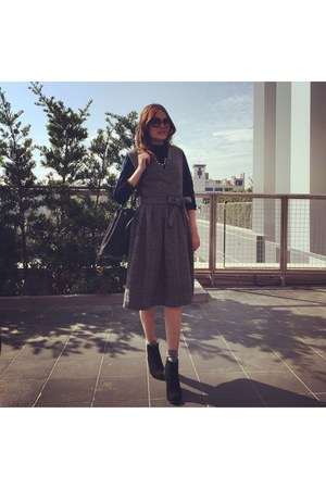 black heels boots - heather gray dress - black zalora bag