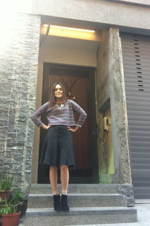 black boots - neutral socks - charcoal gray skirt - silver necklace