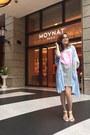 Gray-h-m-dress-white-accessorize-sandals-sky-blue-hconnect-cape