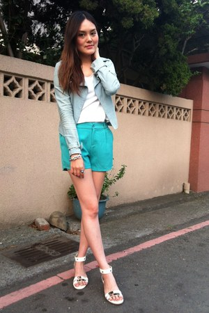 light blue denim jacket - aquamarine shorts - silver bracelet