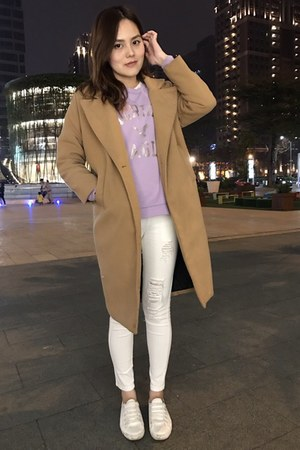 white shoes - beige coat - white leggings - periwinkle American Eagle top