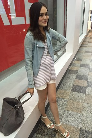 light blue coat - heather gray bag - white shorts - silver stripped top